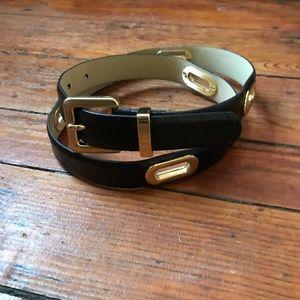Ann Taylor black leather belt gold details S